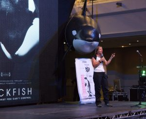 Dr Ingrid Visser speaking at WhaleFest about the 'Directors Cut' special screening of Blackfish
