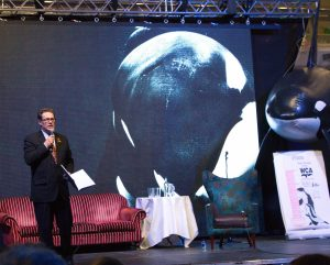 OBE Will Travis speaking at the 'Directors Cut' of Blackfish, WhaleFest 2014