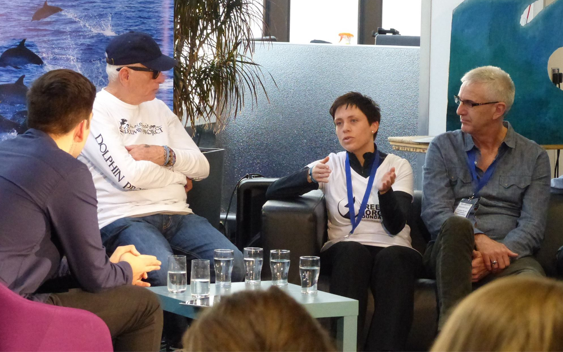 WhaleFest 2015 -Rosina Lisker with Ric O'Barry et al during panel discussions