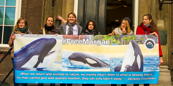 December 2013, #FreeMorgan banner, outside Dutch High Court